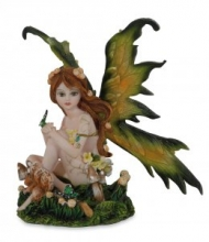 042-212 Fata seduta con farfalla altezza 12 cm Fairy Land Collection