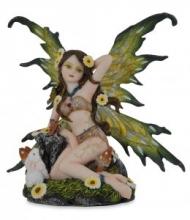 042-213 Fata seduta con animali altezza 11,5 cm Fairy Land Collection